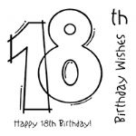 18th Birthday Clear Woodware Stamp (FRS127)